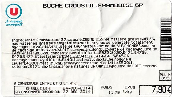 Composition bûche Croustillante Framboise Super U pour Noël 2014