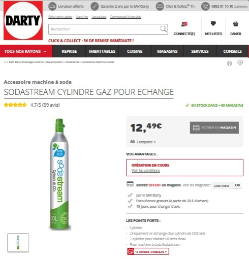 Recharge Sodastream chez Darty