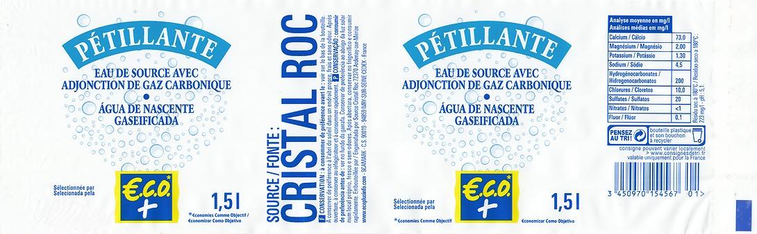 Label ECO + (Leclerc) - Source Cristal Roc (= Cristaline) 1,5L