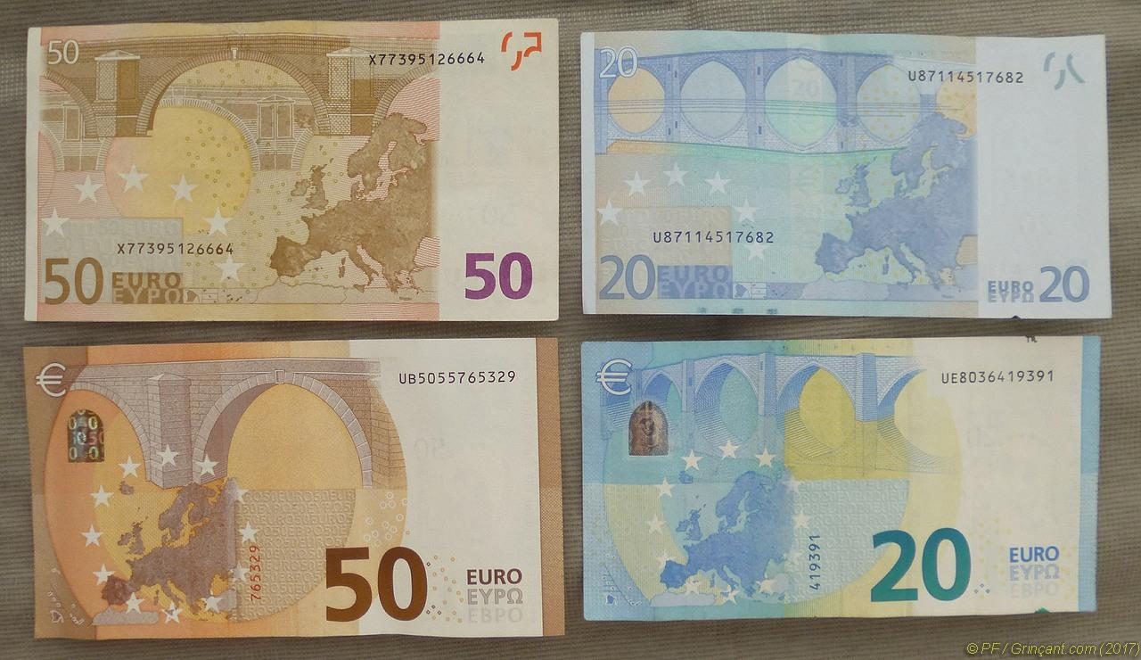 Tronches De Billets De Banque Politiques Et Euros Grincant